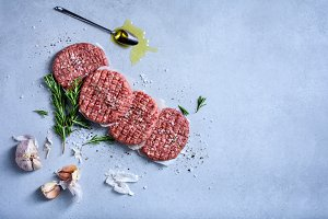 Raw meat beef burger ingredients