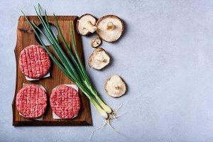 Fresh raw minced beef, burger pattie