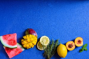 Colorful exotic fruits, healthy food