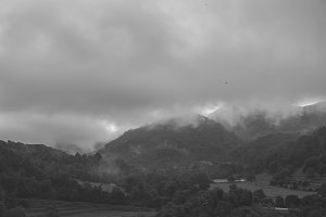 landscape with mountains BW