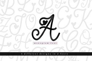 Handwritten Monogram Font - 4 Styles