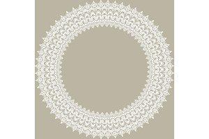 Floral Modern Vector Round White