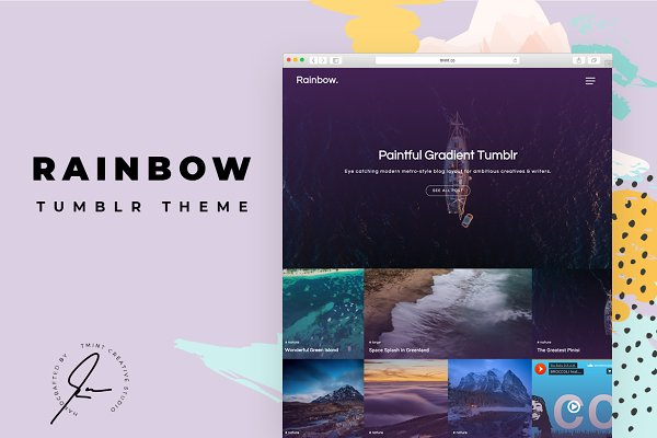 Tumblr Themes: TMint - Rainbow Tumblr Themes