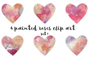Painted hearts clipart set 1