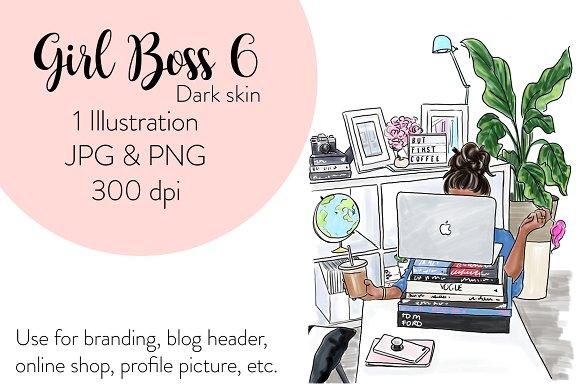 Girl boss 6 - Dark Skin illustration