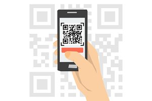 QR code scanning - hand with phone