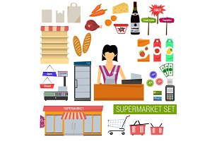 Vector set supermarket flat icons