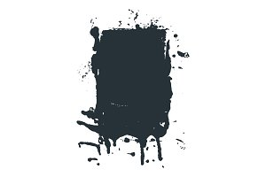 Spilled black ink or paint spot in