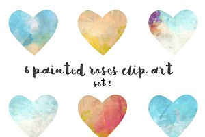 Painted hearts clipart set 2