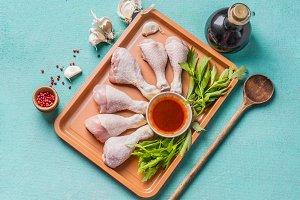 Raw chicken drumsticks preparation