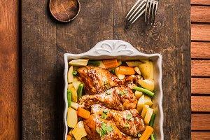 Chicken drumsticks casserole