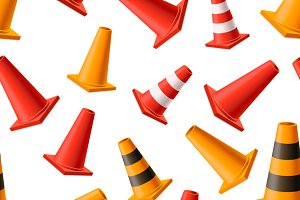 Yellow and red road cones