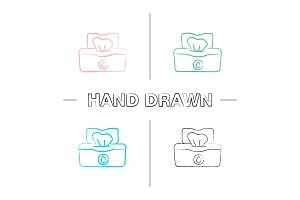 Wet wipes pack hand drawn icons set