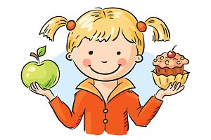 Girl holding a cake and an apple