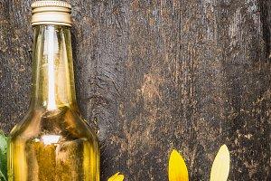 Sunflower oil in glass bottle