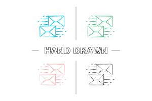 Mailing hand drawn icons set