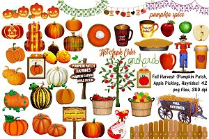 Fall Harvest (Pumpkins,etc) ClipArt
