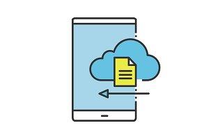 Smartphone cloud storage color icon