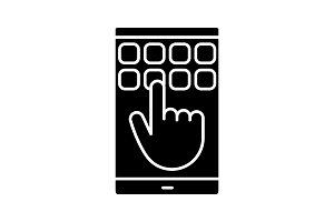 Smartphone touchscreen glyph icon