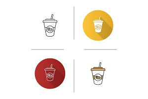 Iced coffee drink icon