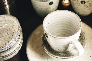 Glazed ceramic tea mugs