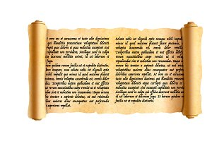 Wide papyrus scroll with latin text