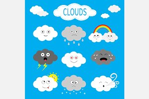 Cloud emoji icon set.