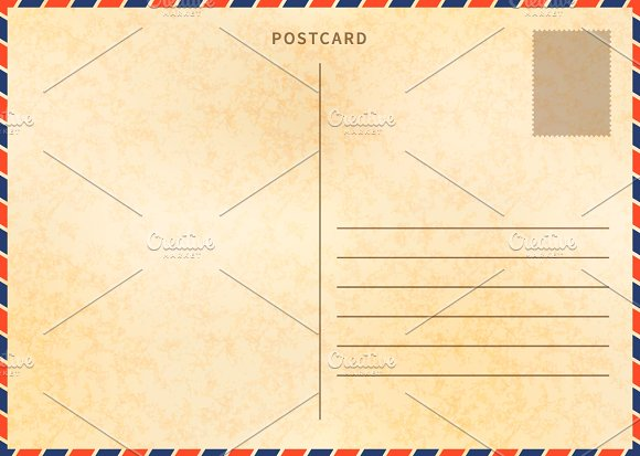 Retro blank postcard template illustrations creative market retro blank postcard template illustrations maxwellsz
