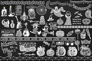 Chalk Sketchy Halloween ClipArt