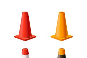 Set of yellow and red road cones