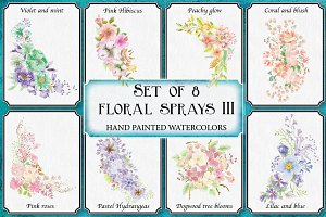 Watercolor sprays III: set of 8