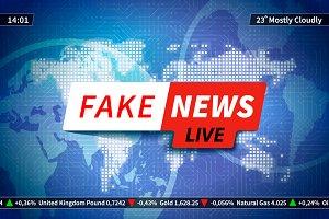 Fake news background on blue