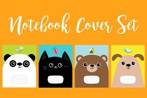 Panda, cat, dog, bear. Cover set