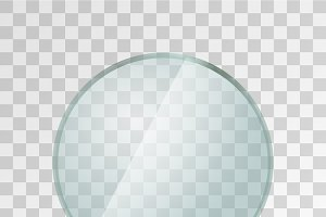 Realistic glossy round glass plate