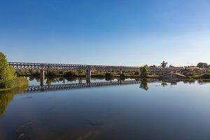 Panoramic view of the metal railway