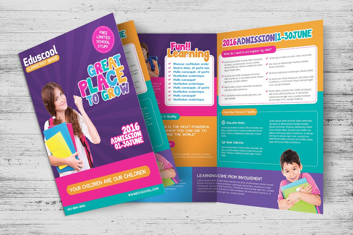 brochure design templates for education - elementary school education bi fold brochure templates