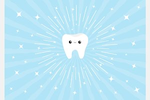 Healthy white tooth icon Shining