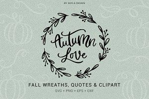 Autumn wreaths quotes clipart svg