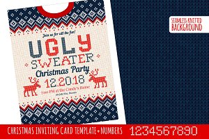 Ugly Sweater Х-mas Party Invite BW
