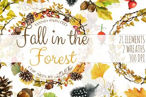 Fall In Forest Watercolor Clip Art