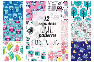 12 owl seamless patterns