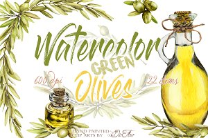 Green Olive Watercolor Clip Art