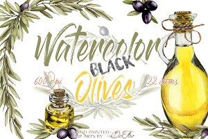 Black Olive Watercolor Clip Art