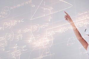 Equations solved on blackboard