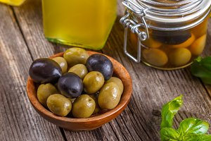 Olives and bottle of olive