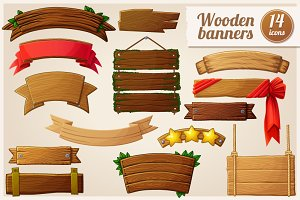 Cartoon wooden banners