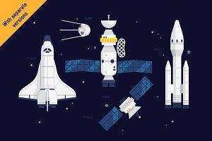 Spacecraft flat vector pack