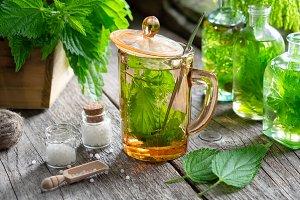 Nettle tea, homeopathy drugs.