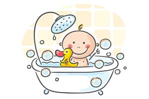 Baby in the bath tub