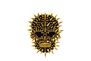Happy Halloween skull icon gold abst